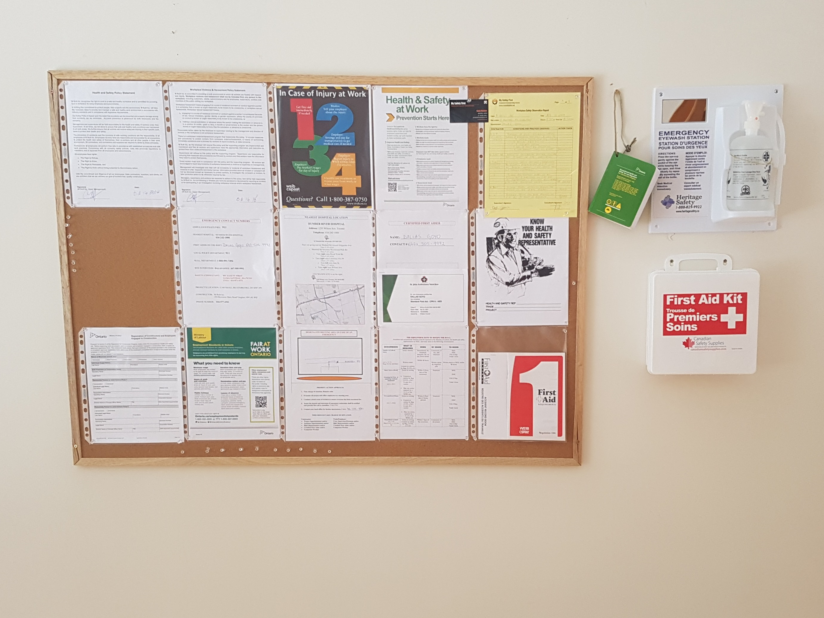 Safety Board with postings
